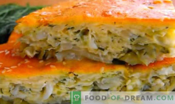 Torta a granel com repolho no forno, microondas, com maionese, carne picada, ovos