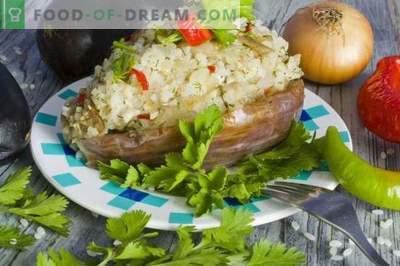 Berinjela recheada com arroz e frango