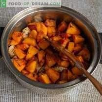 Pilaf friável com abóbora e carne do modo azerbaijano