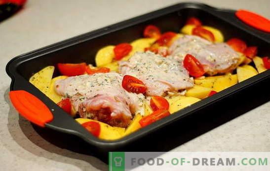 Coxas de frango com batatas no forno - as melhores receitas. Receitas de coxa de frango com batatas no forno: em folha, manga
