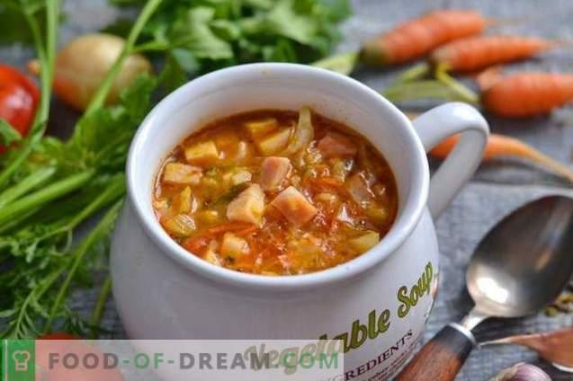 Sopa simples de legumes com presunto