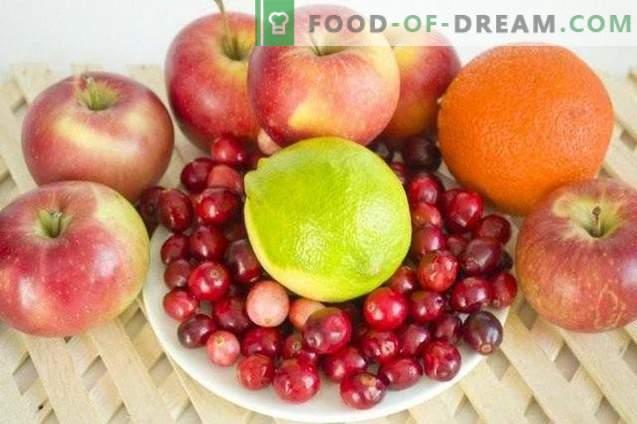Compota de maçã com cranberries e frutas cítricas