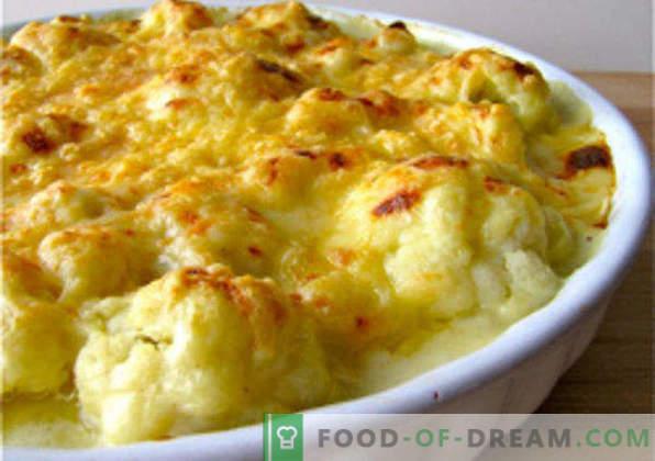 Caserola de conopida în cuptor, rețete cu brânză, ou, pui, carne tocată, dovlecei