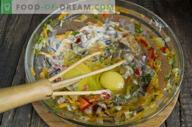 Torta com cogumelos no kefir