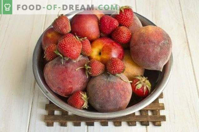 Confiture de baies de pêches, fraises et nectarines