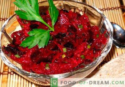 Salada de beterraba crua - uma seleção das melhores receitas. Como corretamente e saboroso cozinhar salada de beterraba crua.