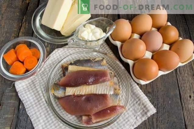 Ovos recheados com arenque e queijo derretido