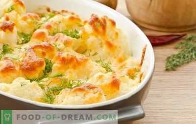 Couve-flor com ovos no forno - os segredos da comida deliciosa. Caçarolas de couve-flor com ovo e queijo no forno para a vida cotidiana e feriados