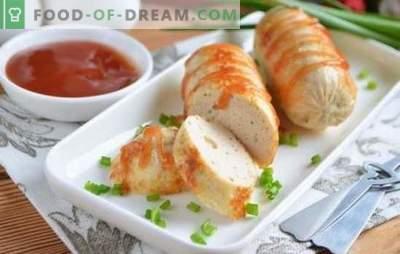 Salsichas picadas de frango são uma alternativa útil para salsichas. Uma seleção de receitas de salsicha de frango picado com especiarias