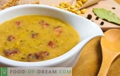 Sopa de ervilha com salsicha: uma versão orçamentária de um primeiro curso saudável. Receitas de sopa de ervilha com salsicha: cozidos e defumados