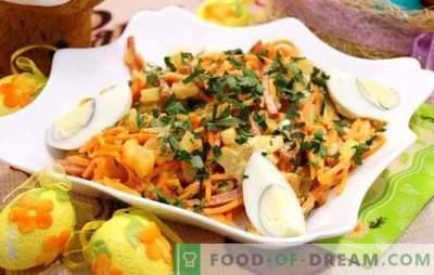 Uma excelente base para a salada é a cenoura coreana com salsicha. Saladas de cenoura coreanas com linguiça e outros ingredientes