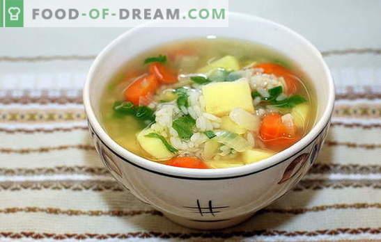 Sopa de arroz com frango: regras básicas para cozinhar. Versões únicas e clássicas da sopa de arroz com frango