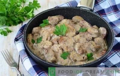 На вкус на свинско месо со печурки во сос од павлака создава брутален апетит. Свинско месо со печурки во сос од крем во рерната, бавен шпорет, садови