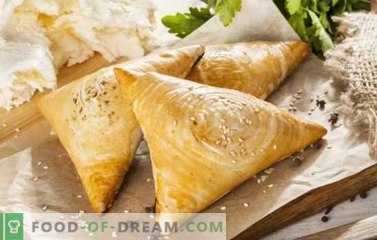 Samsa with cheese and its original versions. A selection of recipes samsa with cheese in combination with other fillers