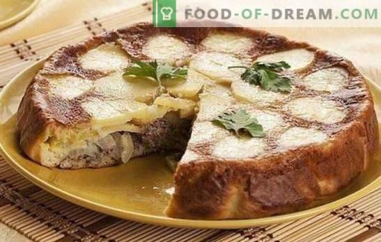 Torta com conservas de peixe e batatas - um super jantar! Receitas de gelatina e outras tortas com conservas de peixe e batatas