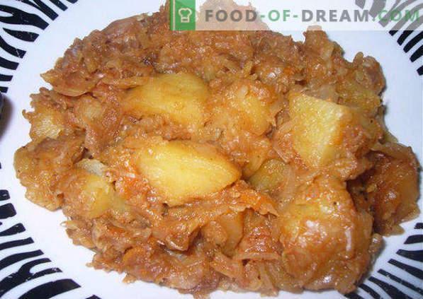 Como extinguir o repolho com batatas em um caldeirão, panela, multicozinha