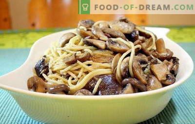 Espaguete com cogumelos é uma combinação incomum de produtos comuns. As melhores receitas para cozinhar espaguete com cogumelos