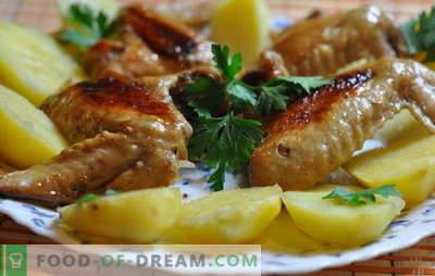 Asas de frango com batatas no forno - orçamento! Receitas de asas de frango com batatas no forno: em italiano, em cerveja, etc.