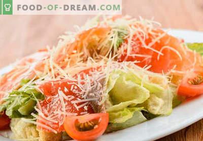 Salada Caesar com salmão - as receitas certas. Rápido e saboroso culinária Caesar salada com salmão.