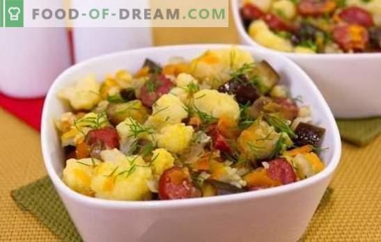 Couve-flor estufada - simples, saborosa. Receitas de couve-flor cozida com legumes, frango, carne picada, cogumelos e outros