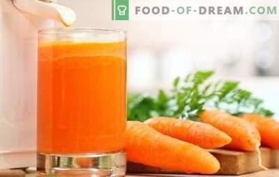 Korenčkov sok doma: trdni vitamini! Recepti naravnega soka korenja in koktajlov z njegovo udeležbo