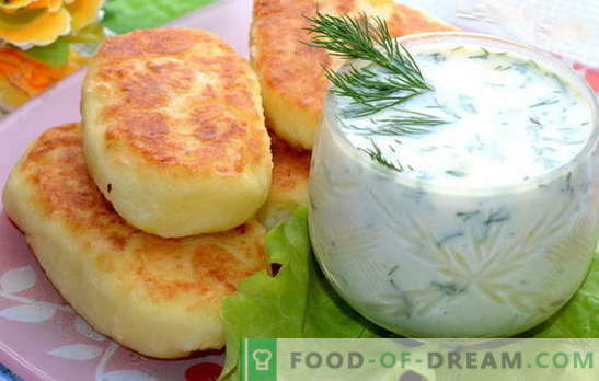 Mashed potato patties - a great dinner. Cutlets from mashed potatoes with sausage, herring, minced meat, mushrooms