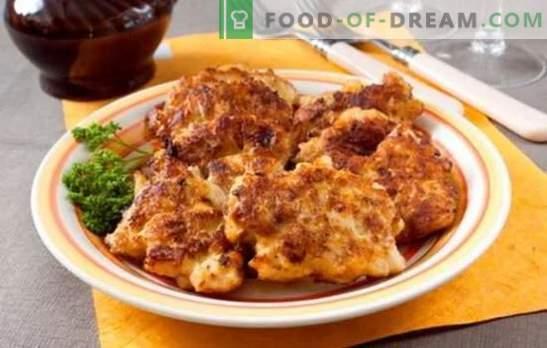 Costeletas de frango picadas com maionese em panado e sem. Receitas de costeletas de frango frito e estufado com maionese