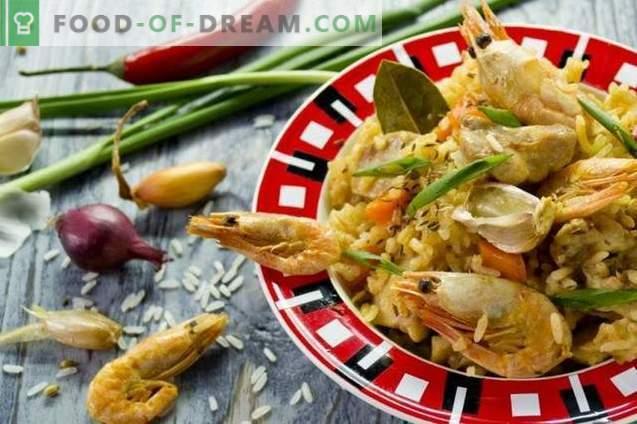 Pilaf com frango e camarão