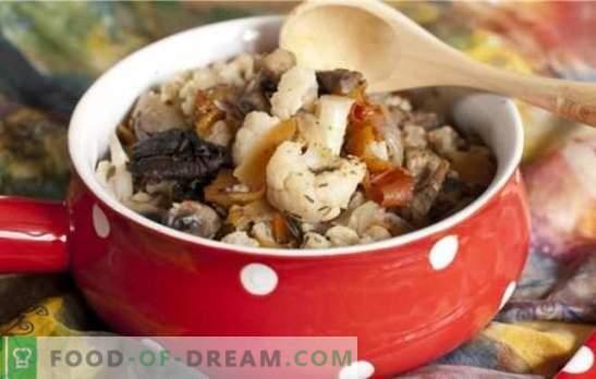 Couve-flor com cogumelos - um buquê de sabor! Receitas para diferentes pratos de couve-flor com cogumelos para a panela e forno