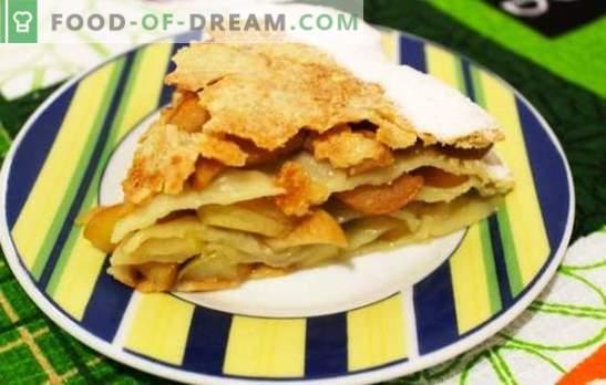 Tartes de torta de maçã feitas de massa folhada é um clássico de cozimento delicado. As melhores receitas de torta de maçã com massa folhada