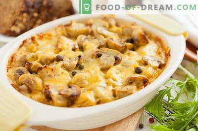 Caçarola com cogumelos - as melhores receitas. Como corretamente e saboroso cozinhar uma caçarola com cogumelos.