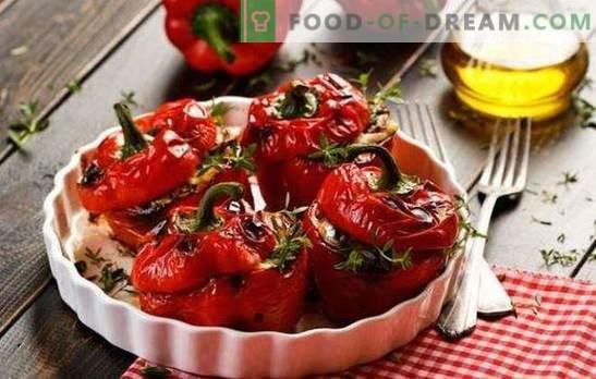 Pimenta búlgara recheada com berinjela - nós jejuamos! Pimenta recheada com berinjelas para o inverno