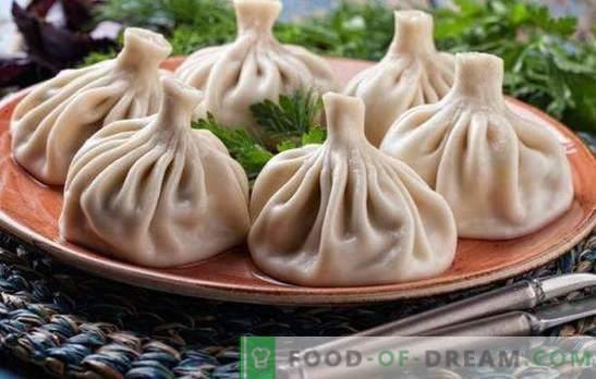 Khinkali cozinhado no vapor - novas receitas para pratos incríveis. Cozinhando khinkali delicioso cozido no vapor com carne, cogumelos, legumes, com recheio doce
