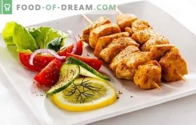 Shashlik filé de frango - uma versão saborosa orçamento de uma festa na natureza. As melhores receitas para kebab de frango