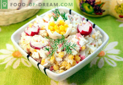Salada com carne de caranguejo - as cinco melhores receitas. Como corretamente e saboroso para cozinhar uma salada com carne de caranguejo.