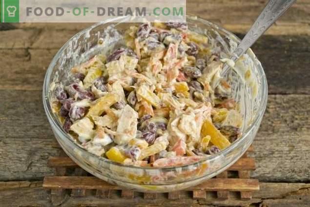 Salada com feijão vermelho e frango