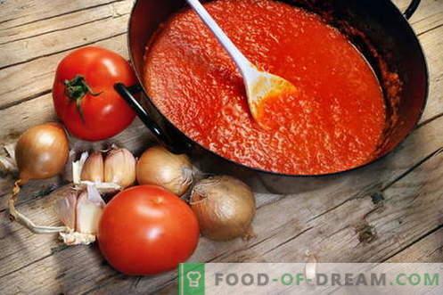 Molho de tomate - as melhores receitas. Como corretamente e cozinhe o molho de tomate.