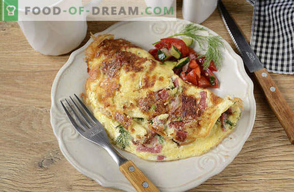 Omelet with cheese and sausage: it can't be easier! Step-by-step author's photo recipe for an omelet with cheese and sausage - what is the secret of the pomp of an omelet?