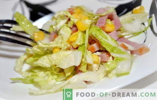 Salada com repolho e presunto de Pequim é um lanche leve. Receitas para saladas com repolho e presunto de Pequim: simples e em camadas