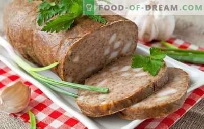 Casa de salsicha hepática - sem química! Receitas de salsicha de fígado caseiro com bacon, trigo mourisco, chamariz, legumes