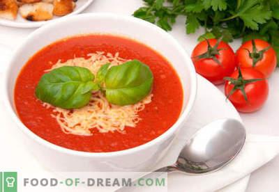 Sopa de creme de tomate - receitas comprovadas. Como corretamente e deliciosamente cozinhar sopa de purê de tomate.