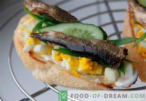 sanduíches de espadilha são as melhores receitas. Como preparar rapidamente e saborosos sanduíches com espadilhas.
