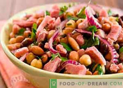 Pupelių ir kumpio salotos - geriausi receptai. Kaip tinkamai ir skaniai virti pupelių salotos su kumpiu.