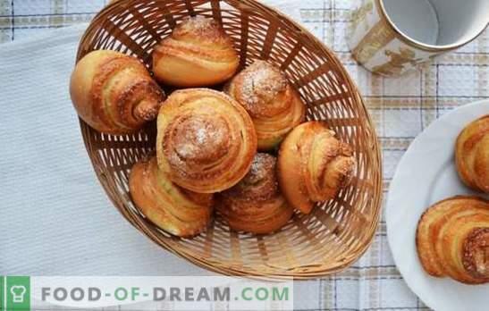 Bolos de caracol - doces intrincados para o chá. Receitas de caracóis saborosos e perfumados com açúcar, sementes de papoula, coco