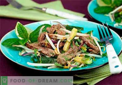 Salada de coração de carne - as melhores receitas. Como corretamente e saboroso cozinhar saladas de coração de carne.
