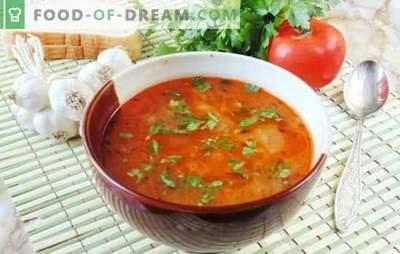 Sopa Quaresma Kharcho - saborosa e sem carne! Receitas com sabor de sopa magra kharcho com arroz, tomate, adzhika, manjericão, nozes