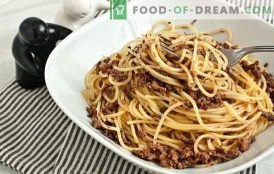 Macarrão com carne picada em um fogão lento é um prato familiar favorito. Uma seleção de pratos de massa com carne picada em um fogão lento em diferentes variações