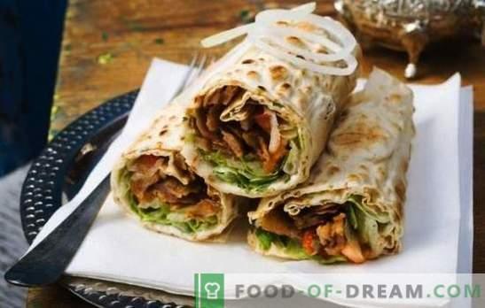 Shawarma com salsicha - um lanche saudável para um lanche rápido. Como preparar shawarma com salsicha: cozidos e defumados
