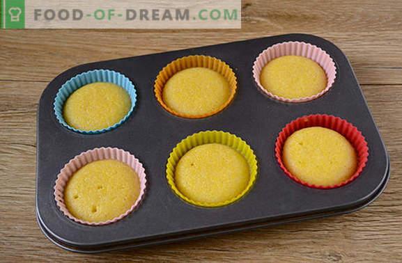 Muffins de fubá: elegante sobremesa ensolarada! Passo a passo da receita do autor para muffins de milho rápidos (com foto)
