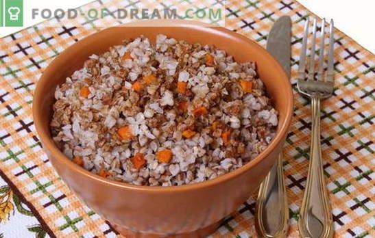 Trigo mourisco com cenoura - mingau inteligente! Receitas de cozinhar trigo mourisco com cenoura e com cebola, tomate, cogumelos, frango, ovos